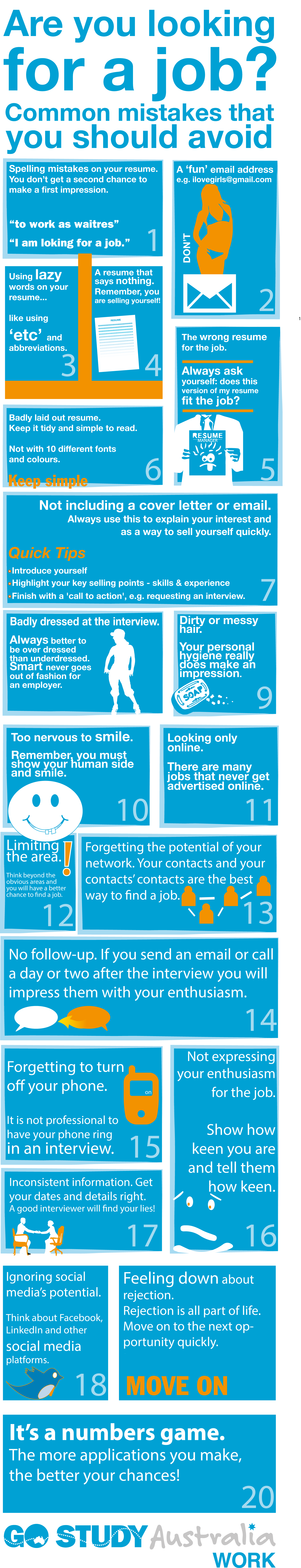 20 resume and job hunting mistakes - Infographic